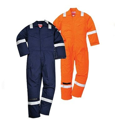 Super Light Weight Flame Resistant Anti-Static Coverall - Orange and Navy